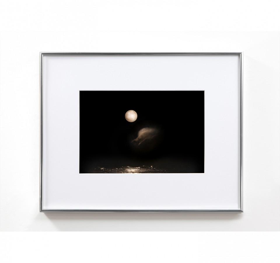 Landscape Photograph, 2014, water tank, hair gel, baby oil, garden stone and aluminum frame, 60x50x50cm