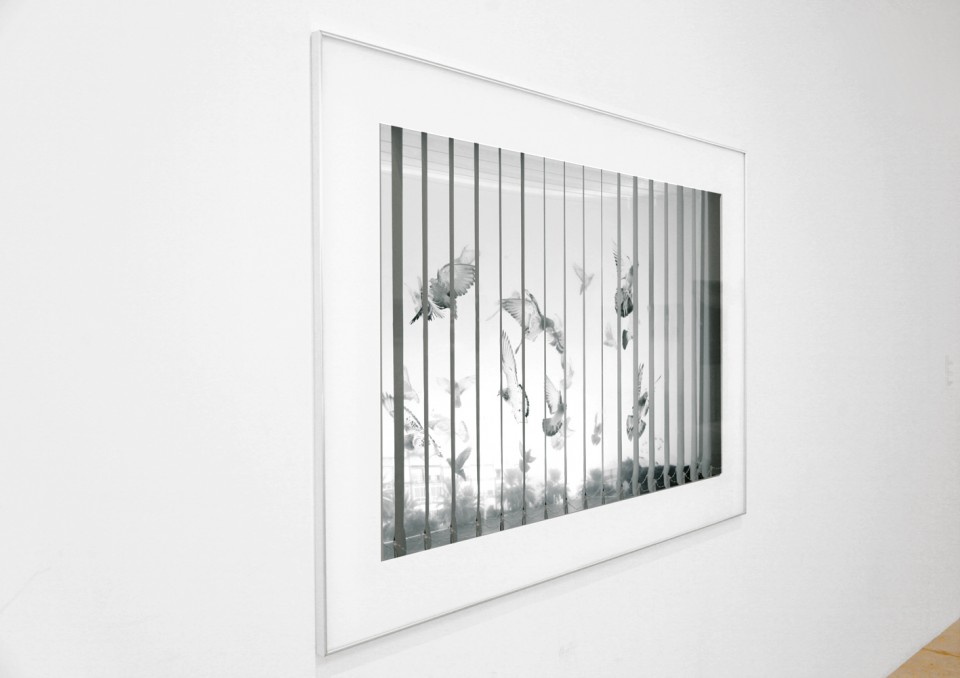 The Shooting (left view), 2017, gypsum boards, Plexiglass, transparencies, vertical curtain, lighting and aluminum frame, 115x165x100cm.